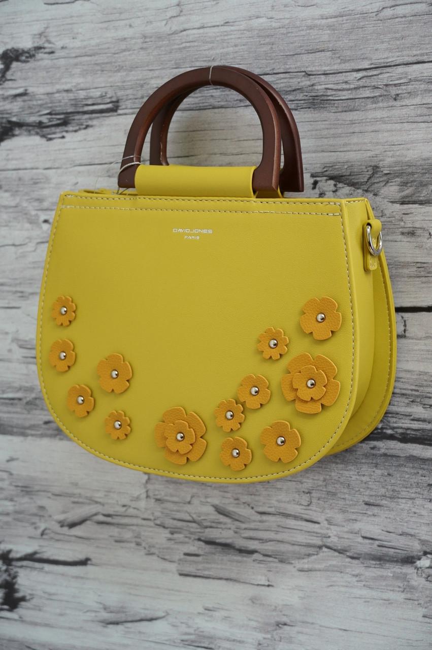 Нежная сумочка в цветочек с деревянными ручками David Jones 5166 yellow