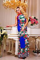 Эффектное женское платье в пол,цветочный принт, фото 1