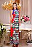 Эффектное женское платье в пол,цветочный принт