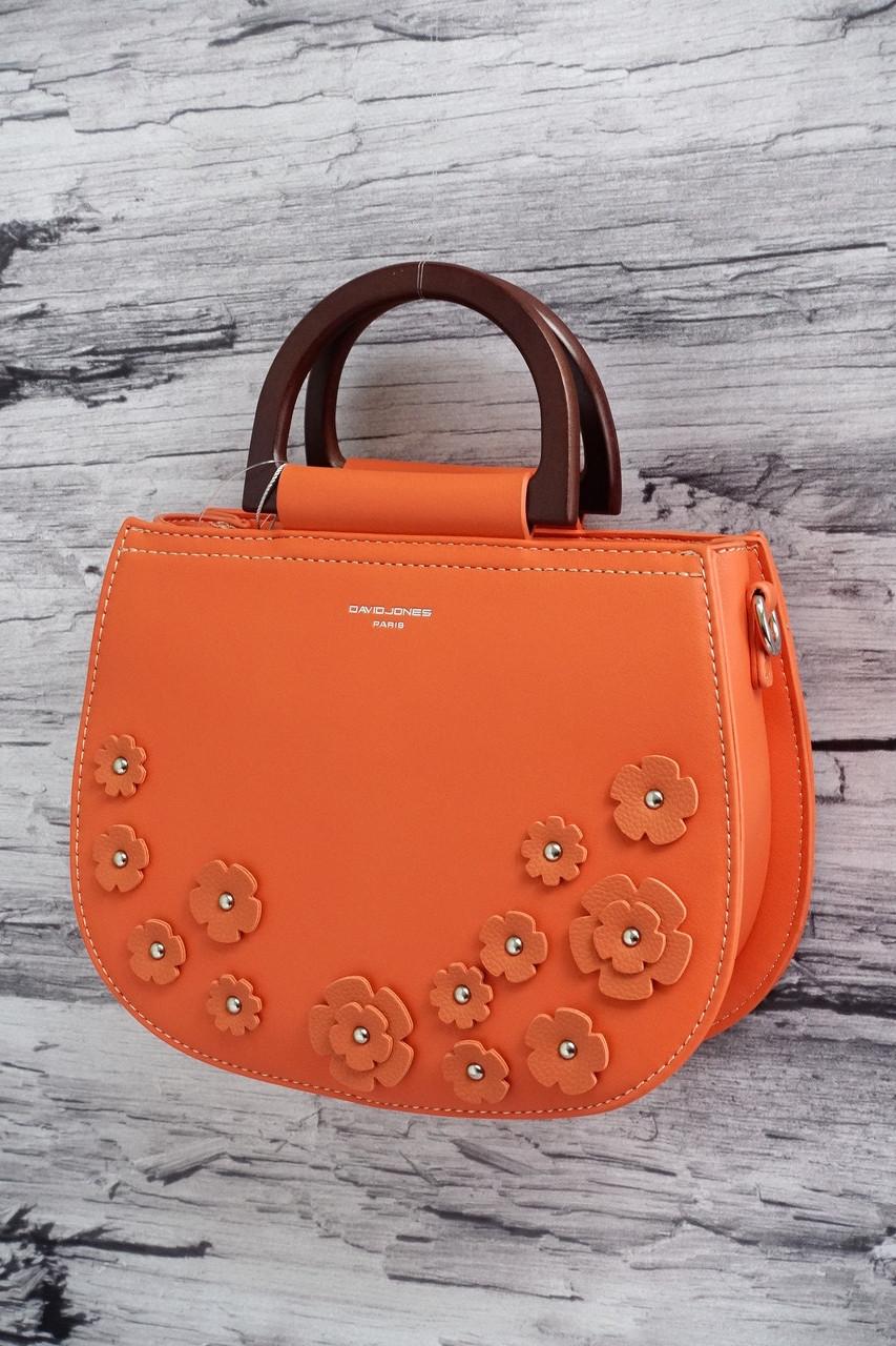 Нежная сумочка в цветочек с деревянными ручками David Jones 5166 orange