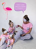 Комплект пижамок FAMILY LOOK для мамы и дочки с розовыми фламинго