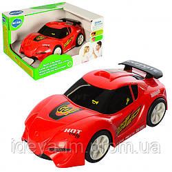 Красная машинка, размер 17 см, ездит, звуковой и световой эффект, резиновые колеса, на батарейке