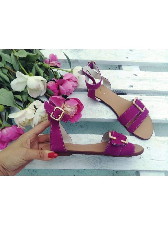 Женские сандалии из натуральной замши фиолетового цвета JUICE CARCADE SUEDE