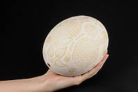 Писанка из страусиного яйца, писанки ручной работы, эксклюзивная огромная белая писанка, фото 1