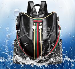 Рюкзак женский чёрный PU кожзам. с красочно оформленной вертикальной вставкой 28 см - 30 см. - 13 см.