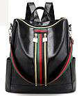 Рюкзак женский чёрный PU кожзам. с красочно оформленной вертикальной вставкой 28 см - 30 см. - 13 см., фото 2