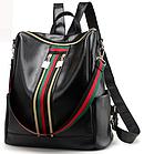 Рюкзак женский чёрный PU кожзам. с красочно оформленной вертикальной вставкой 28 см - 30 см. - 13 см., фото 3