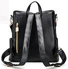 Рюкзак женский чёрный PU кожзам. с красочно оформленной вертикальной вставкой 28 см - 30 см. - 13 см., фото 5