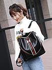 Рюкзак женский чёрный PU кожзам. с красочно оформленной вертикальной вставкой 28 см - 30 см. - 13 см., фото 6