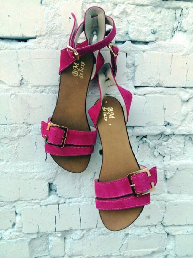 Женские сандалии из натуральной замши розового цвета JUICE FIOLET SUEDE