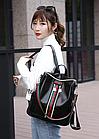 Рюкзак женский чёрный PU кожзам. с красочно оформленной вертикальной вставкой 28 см - 30 см. - 13 см., фото 8
