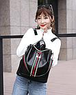 Рюкзак женский чёрный PU кожзам. с красочно оформленной вертикальной вставкой 28 см - 30 см. - 13 см., фото 10