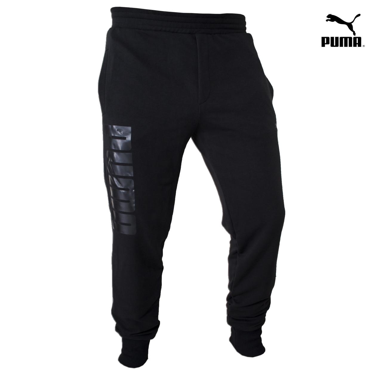 Штаны спортивные мужские Puma (Пума) - черные, хлопковые, с логотипом
