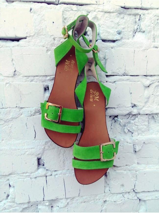 Женские сандалии из натуральной замши зеленого цвета JUICE GREEN APPLE SUEDE