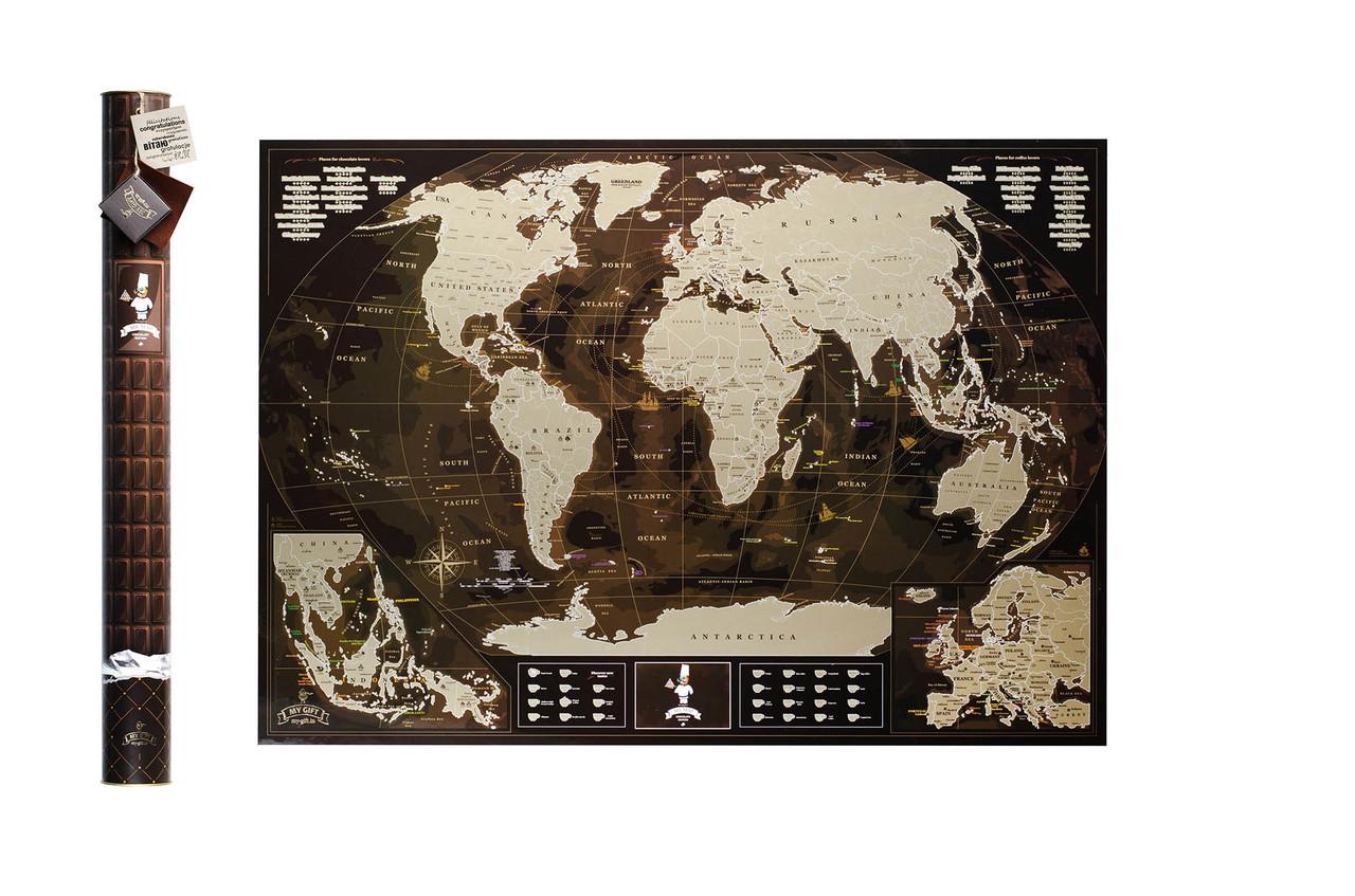 Шоколадна скретч карта світу 3-в-1 My Map Chocolate Edition ENG для любителів кави і шоколаду