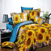 Постельное белье Casa Ricco двуспальное подсолнухи цветы национальная символика