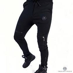 Штаны спортивные мужские Philipp Plein (Филипп Плейн, Филипп Пляйн) - черные, хлопковые, с логотипом PP