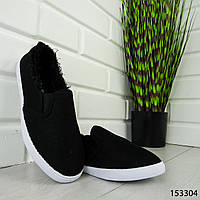 """Мокасины женские, черные """"Dally"""" текстильные, кроссовки женские, кеды женские, повседневная обувь"""