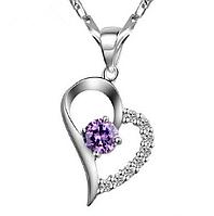 Серебряный кулон сердечко с фиолетовым камнем стерлинговое серебро 925 пробы