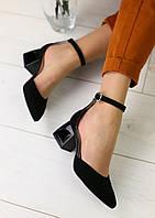 Черные босоножки туфли на каблуке замша натуральная