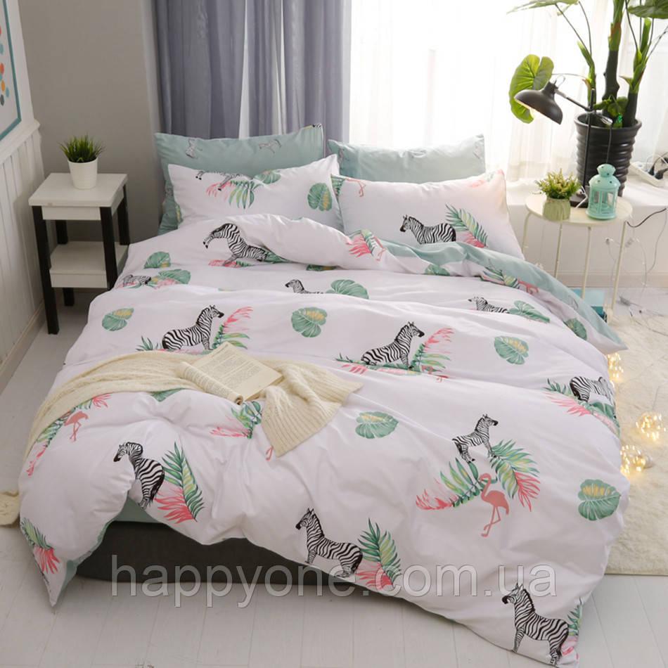 Комплект постельного белья Zebra and Flamingo (двуспальный-евро)
