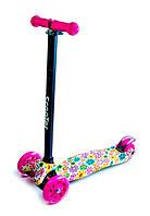 Детский самокат ScooTer MAXI Violet Flowers Светящиеся малиновые колеса Трубка руля алюминиевая, В упаковке