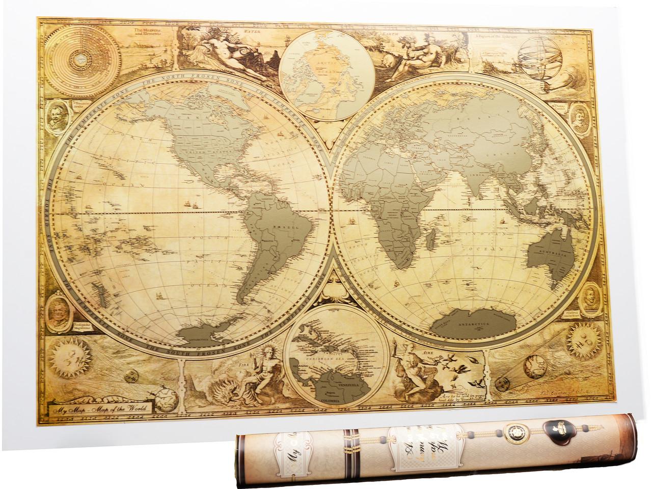 Старовинна скретч карта світу My Map Special Edition ENG 61*43 см Карта в старовинному стилі