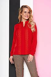 """Свободная нарядная блузка с кружевами спереди и воротником-стойкой """"AZ-123"""" красная"""