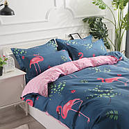 """Комплект постельного белья """"Розовый фламинго"""" с простынью на резинке (двуспальный-евро), фото 2"""