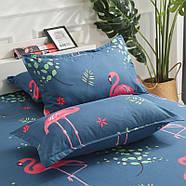 """Комплект постельного белья """"Розовый фламинго"""" с простынью на резинке (двуспальный-евро), фото 5"""