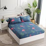 """Комплект постельного белья """"Розовый фламинго"""" с простынью на резинке (двуспальный-евро), фото 10"""