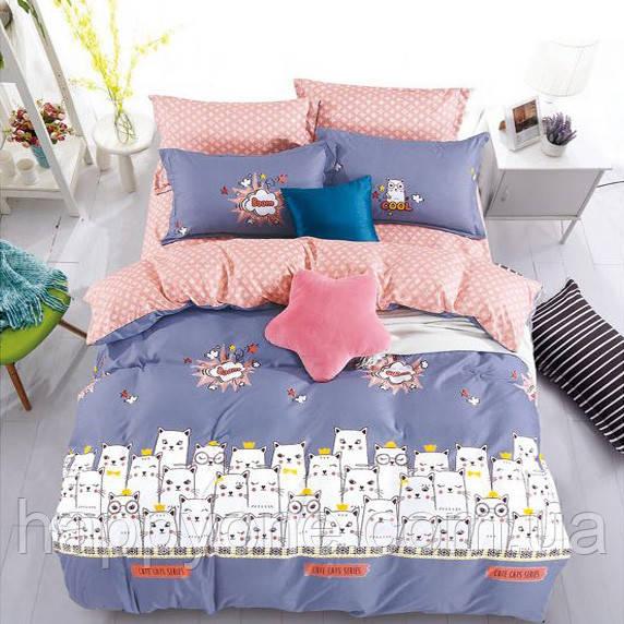 """Комплект постельного белья """"Коты"""" с простынью на резинке (двуспальный-евро)"""