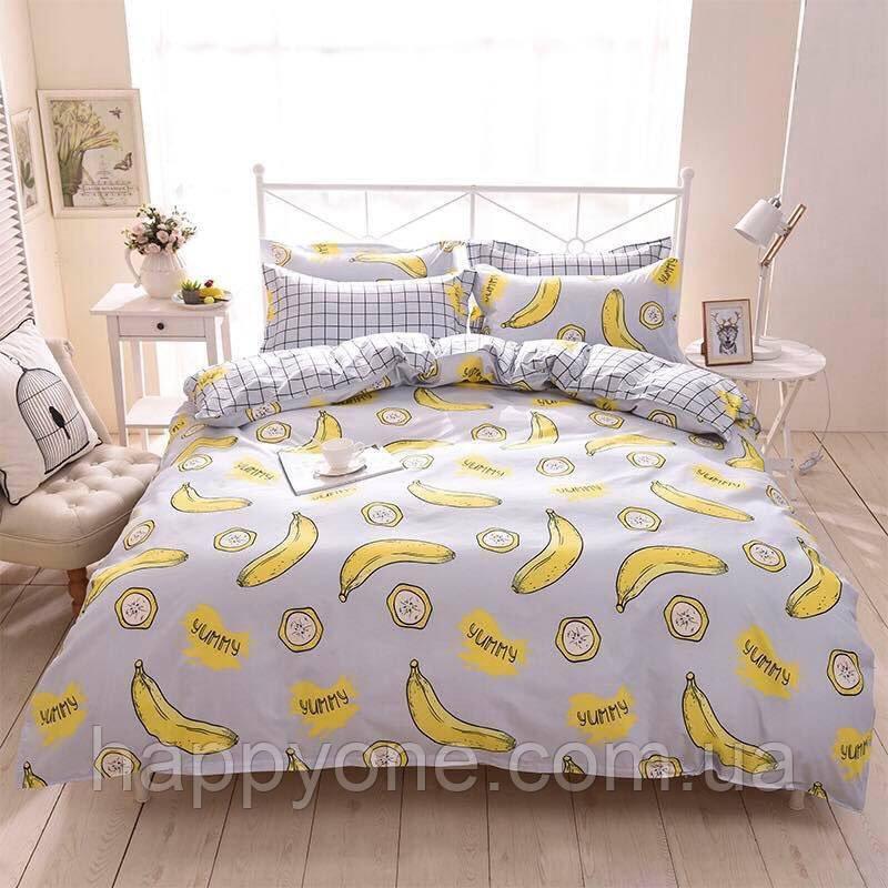 """Комплект постельного белья """"Банан"""" с простынью на резинке (двуспальный-евро)"""