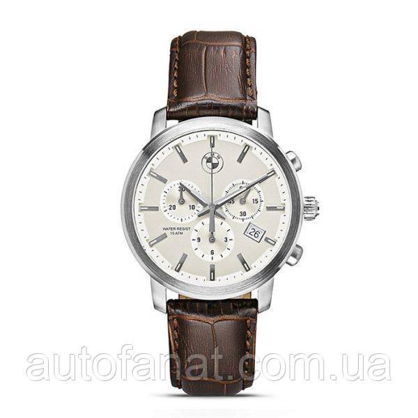 Оригинальные мужские наручные часы BMW Men's Chrono Watch Brown Strap (80262365452)