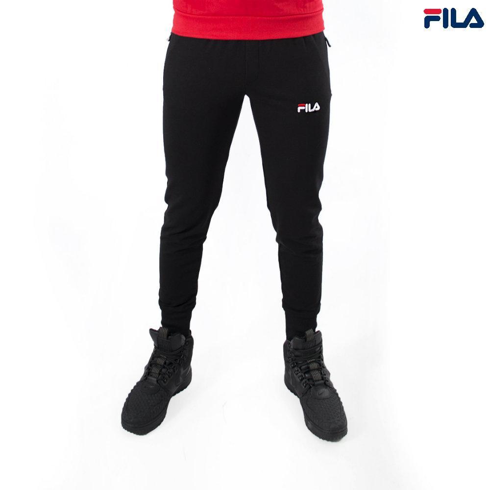 Штаны спортивные мужские FILA (Фила) - черные, хлопковые, с логотипом