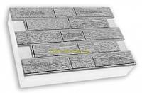 """Термопанели фасадные SunRock  """"Кирпич короед"""" 600х400х50мм Пенопласт 50мм, Белый цемент"""