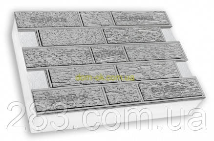 "Термопанели фасадные SunRock  ""Кирпич короед"" 600х400х50мм Пенопласт 50мм, Серый цемент"