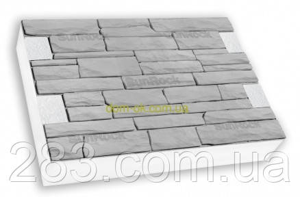 "Термопанели SunRock  ""Римская кладка"" 600х400х50мм Пенопласт 50мм, Серый цемент"
