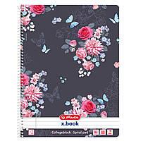 Блокнот Herlitz А4 80 листов линия Ladylike Flowers