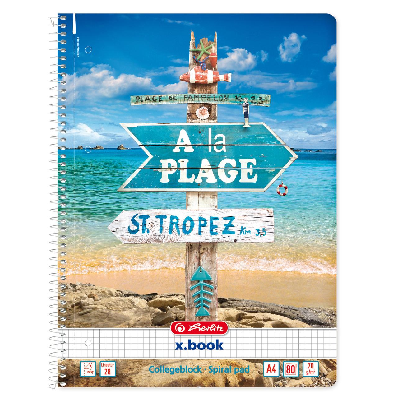 Блокнот Herlitz А4 80 листов клетка Sunny Flair Plage Пляж