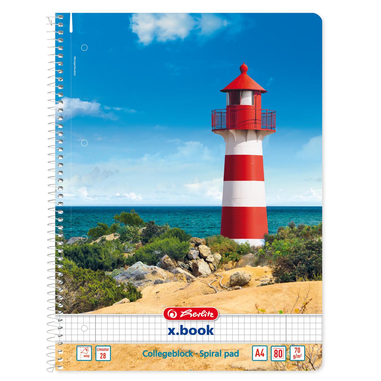 Блокнот Herlitz А4 80 листов клетка Sunny Flair Lighthouse Маяк