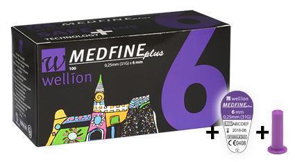 Голки для інсулінових шприц-ручок Wellion MEDFINE plus 0,25 мм (31G) x 6мм, 100 шт. + контейнер, Австрія