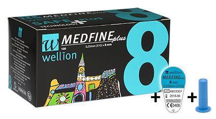 Голки для інсулінових шприц-ручок Wellion MEDFINE plus 0,25 мм (31G) x 8мм, 100 шт. + контейнер, Австрія