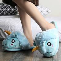 Детские домашние тапочки игрушки голубые Единороги