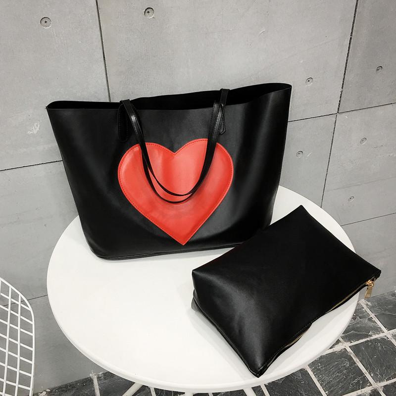 cc9b449ce1e0 Черная сумка шоппер с большим сердцем, цена 720 грн., купить в Киеве ...
