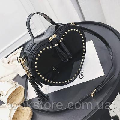 0abae5b1c465 Женская маленькая лаковая сумка Сердце с заклепками черная, ...