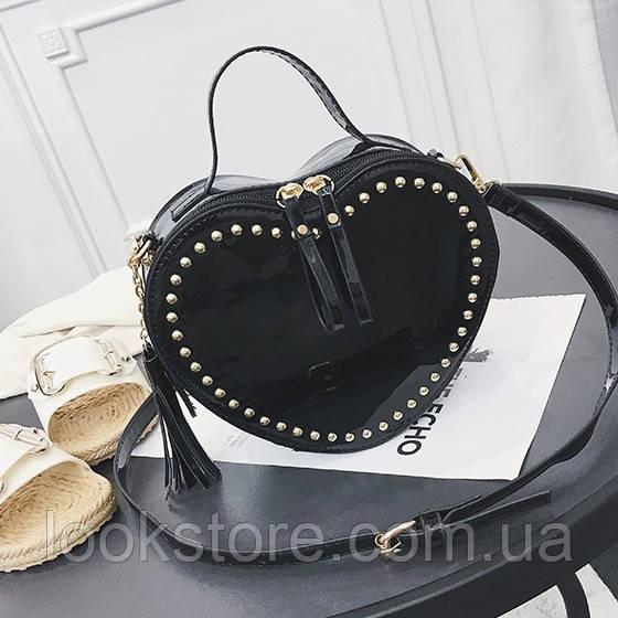 92d647144dfb Женская маленькая лаковая сумка Сердце с заклепками черная -  LookStore.com.ua в Днепре