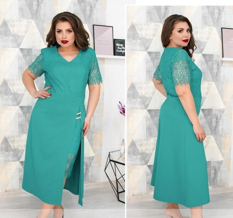 Красивое платье с кружевом,ментол 52,54,56,58
