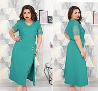 Красивое платье с кружевом,ментол 52,54,56,58, фото 1