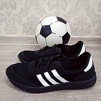 Кроссовки мужские на шнурках код 140 адидас на черном
